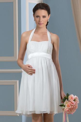 Vestido de novia Embarazadas Blusa plisada Escote halter Plisado Hasta la Rodilla - Página 4