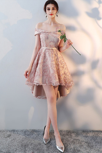 Vestido de dama de honor Encaje Asimétrico Dobladillo Sin mangas Drapeado Escote con Hombros caídos - Página 8