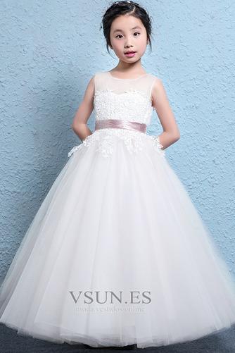 Vestido niña ceremonia Fajas Corte-A Falta Arco Acentuado primavera Natural - Página 3