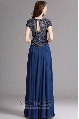 Vestido de noche Gasa Queen Anne Camiseta Natural Corte-A Corpiño Acentuado con Perla - Página 2