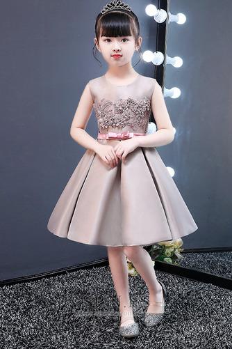 Vestido niña ceremonia Falta Satén Otoño Joya Sin mangas Corte-A - Página 1
