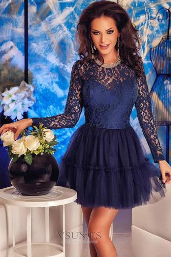 Vestido de cóctel Elegante Corte-A Camiseta Encaje Joya Natural - Página 2