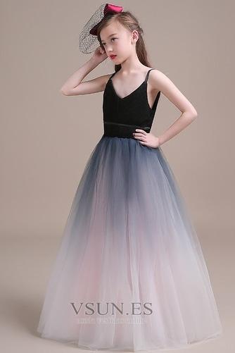 Vestido niña ceremonia Corte-A Cremallera Blusa plisada Natural Sin mangas - Página 3