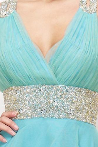 Vestido de graduacion Blusa plisada Azul Cielo Moderno Imperio Cintura Corte princesa - Página 4