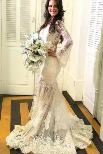 Vestido de novia largo Capa de encaje Corte Sirena Espalda con ojo de cerradura - Página 1