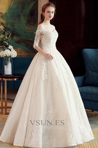 Vestido de novia Elegante Recatada Hasta el suelo Escote con Hombros caídos - Página 3