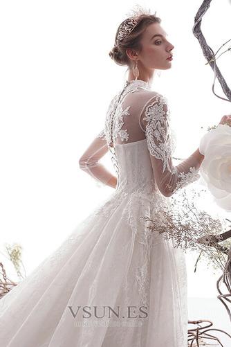 Vestido de novia primavera Escote con cuello Alto Capa de encaje Mangas Illusion - Página 4