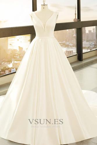 Vestido de novia primavera Baja escote en V Corte-A Drapeado Satén Escote en V - Página 1