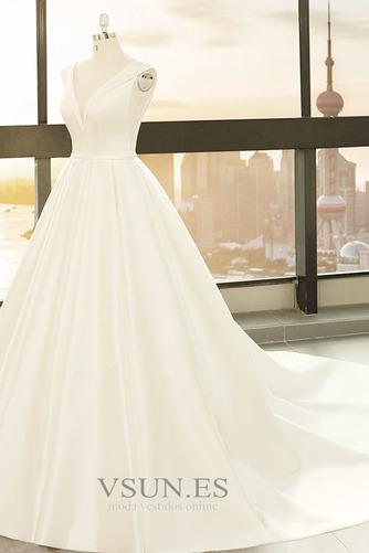 Vestido de novia primavera Baja escote en V Corte-A Drapeado Satén Escote en V - Página 3