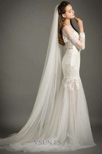 Vestido de novia Natural Abalorio Joya Capa de encaje Cremallera Camiseta - Página 4