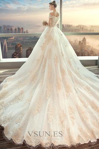 Vestido de novia largo Reloj de Arena Sala Apliques Cordón Invierno - Página 2