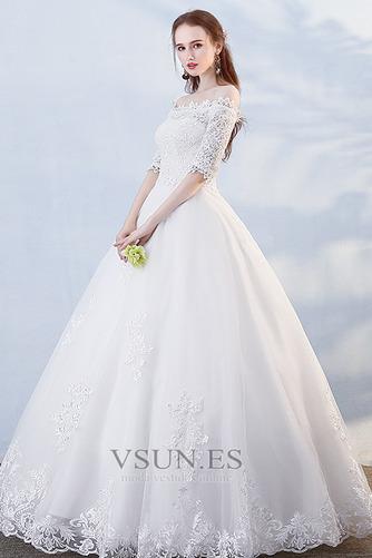 Vestido de novia Hasta el suelo Abalorio Otoño Formal Capa de encaje - Página 1