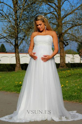 Vestido de novia Sin tirantes Embarazadas Imperio Imperio Cintura Sin mangas - Página 4