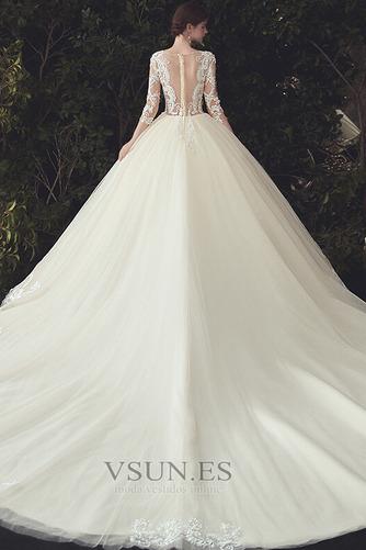 Vestido de novia Pura espalda Capa de encaje Cola Catedral Elegante - Página 4