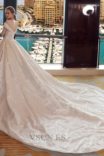 Vestido de novia Colores Iglesia Estrellado Con lentejuelas Otoño Escote con Hombros caídos - Página 4