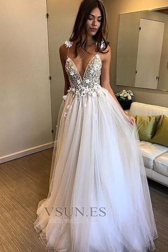 Vestido de novia Baja escote en V Escote de Tirantes Espaguetis Natural - Página 1