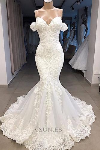 Vestido de novia Satén Capa de encaje Sin mangas Playa Natural Bordado - Página 1