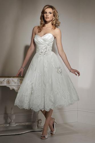 Vestido de novia Hasta la Tibia Natural Corte-A Sin mangas Apliques - Página 1