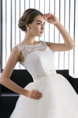 Vestido de novia Verano Barco Perlas Cordón Sala Formal - Página 3