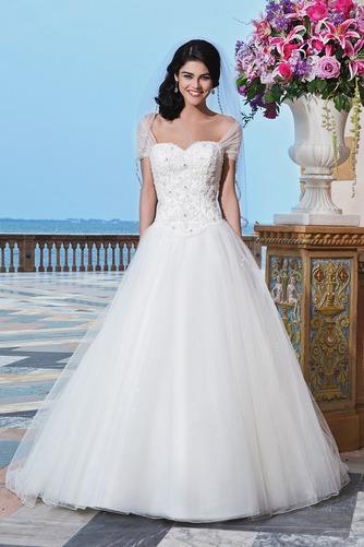 Vestido de novia Abalorio Playa Bola largo primavera Escote con Hombros caídos - Página 1