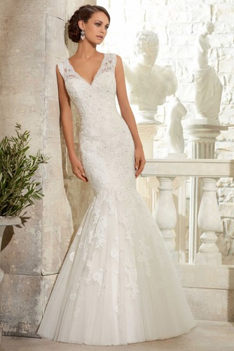Vestido de novia Apliques Natural Espalda medio descubierto largo Encaje - Página 1