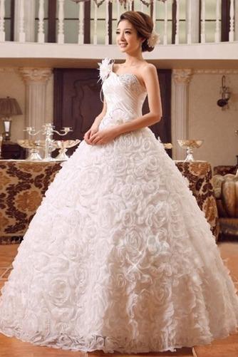 Vestido de novia Colores Sala Flores largo Un tirante con flor Sin mangas - Página 3