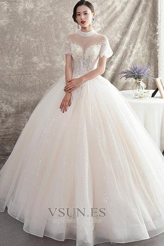 Vestido de novia Manga corta Natural Iglesia Corte-A Falta Organza - Página 1