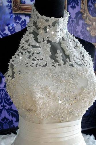 Vestido de novia Natural Corte-A Sin mangas Organza Iglesia Cremallera - Página 5