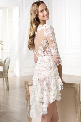 Vestido de novia Encaje Escote en V Natural Asimètrico tul Corto - Página 2