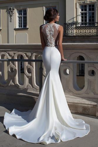 Vestido de novia Fuera de casa Apliques Sin mangas largo Encaje Natural - Página 2