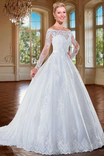 Vestido de novia Cremallera Manga larga Flores Sala Escote con Hombros caídos - Página 1
