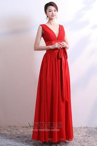 Vestido de dama de honor Falta Lazos Corte-A Natural Sin mangas Baja escote en V - Página 3