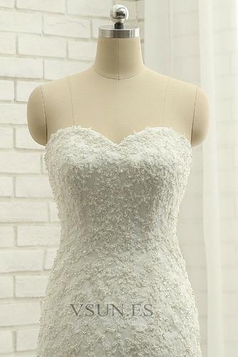 Vestido de novia Elegante Capa de encaje Apliques Sin mangas Corte Sirena - Página 5