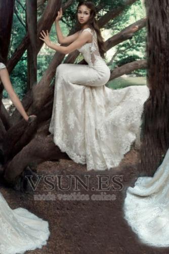 Vestido de novia Tallas pequeñas Pura espalda Sin mangas Natural Verano - Página 6