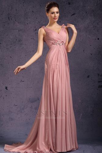 Vestido de noche Rosa Perla Cola Barriba Imperio Rosetón Acentuado Blusa plisada - Página 2
