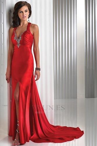 Vestido de fiesta Rojo Oscuro Criss Cross Blusa plisada Falta Espalda Descubierta - Página 1