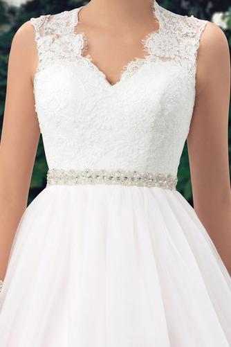 Vestido de novia Elegante Cola Capilla Pura espalda Natural Sin mangas - Página 5