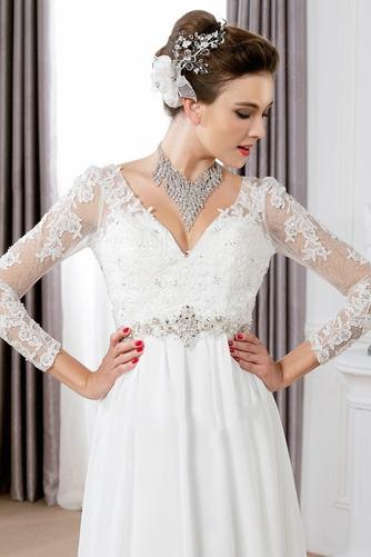 Vestido de novia Pura espalda Imperio Cintura Cinturón de cuentas largo - Página 3