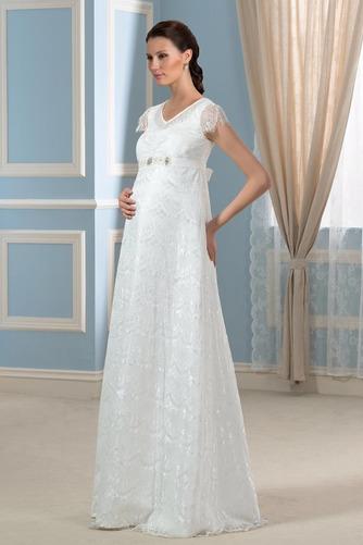 Vestido de novia Romántico Embarazadas Otoño Encaje Cremallera Hasta el suelo - Página 2