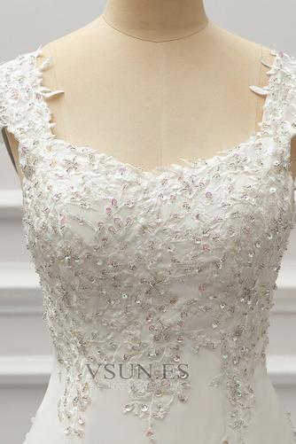 Vestido de novia Gasa Cordón Capa de encaje Natural Escote Cuadrado - Página 5