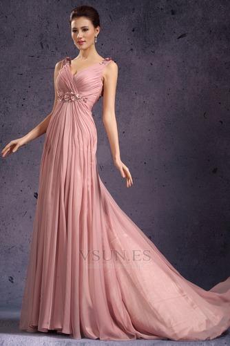 Vestido de noche Rosa Perla Cola Barriba Imperio Rosetón Acentuado Blusa plisada - Página 5