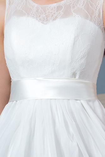 Vestido de novia Playa Drapeado Natural Corte-A Sin mangas Glamouroso - Página 6