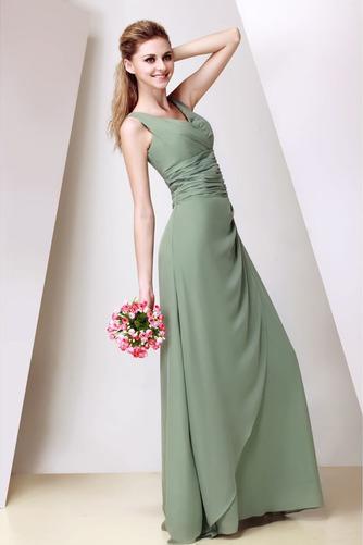 Vestido de dama de honor Corte-A Triángulo Invertido Elegante Cremallera Escote en V - Página 3