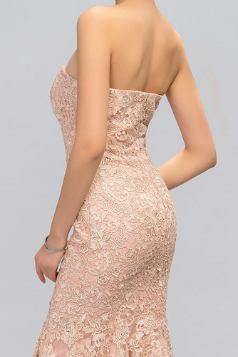 Vestido de noche Elegante Cremallera Encaje Corte-A Sin tirantes Natural - Página 4