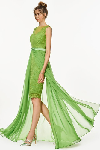Vestido de fiesta Encaje Verano Elegante Capa de encaje Natural Sin mangas - Página 2