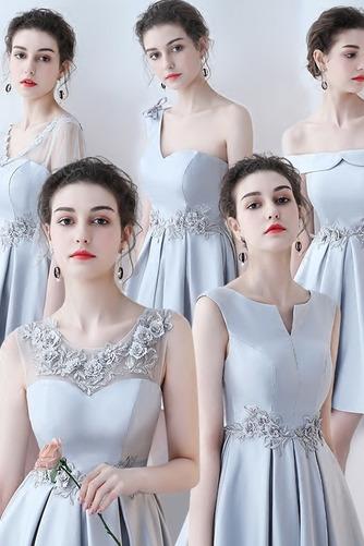 Vestido de dama de honor Cordón primavera Satén Un sólo hombro Sin mangas Bordado - Página 1