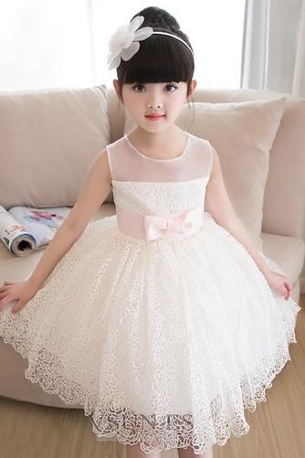 Vestido niña ceremonia Verano Fajas Encaje Natural Sin mangas Corte-A - Página 4