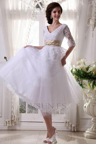 Vestido de novia Fuera de casa La mitad de manga Cremallera tul Natural - Página 7