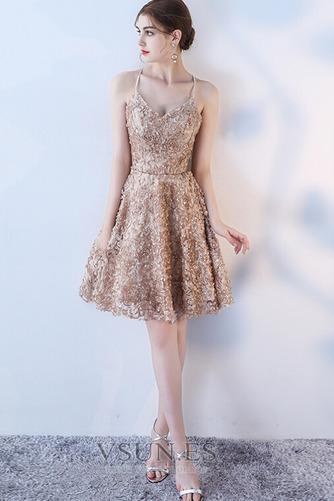 Vestido de cóctel Corte-A Apliques Glamouroso Encaje Escote de Tirantes Espaguetis - Página 6