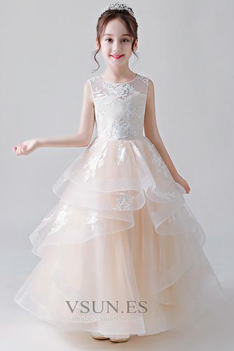 Vestido niña ceremonia Joya primavera Natural Hasta el Tobillo Cordón Falta - Página 1